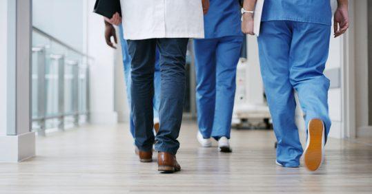 Doctors walking in corridor