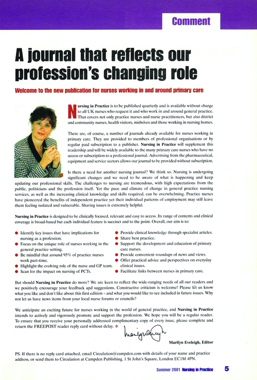 Issue 1 of Nursing in Practice, and Marilyn's first column